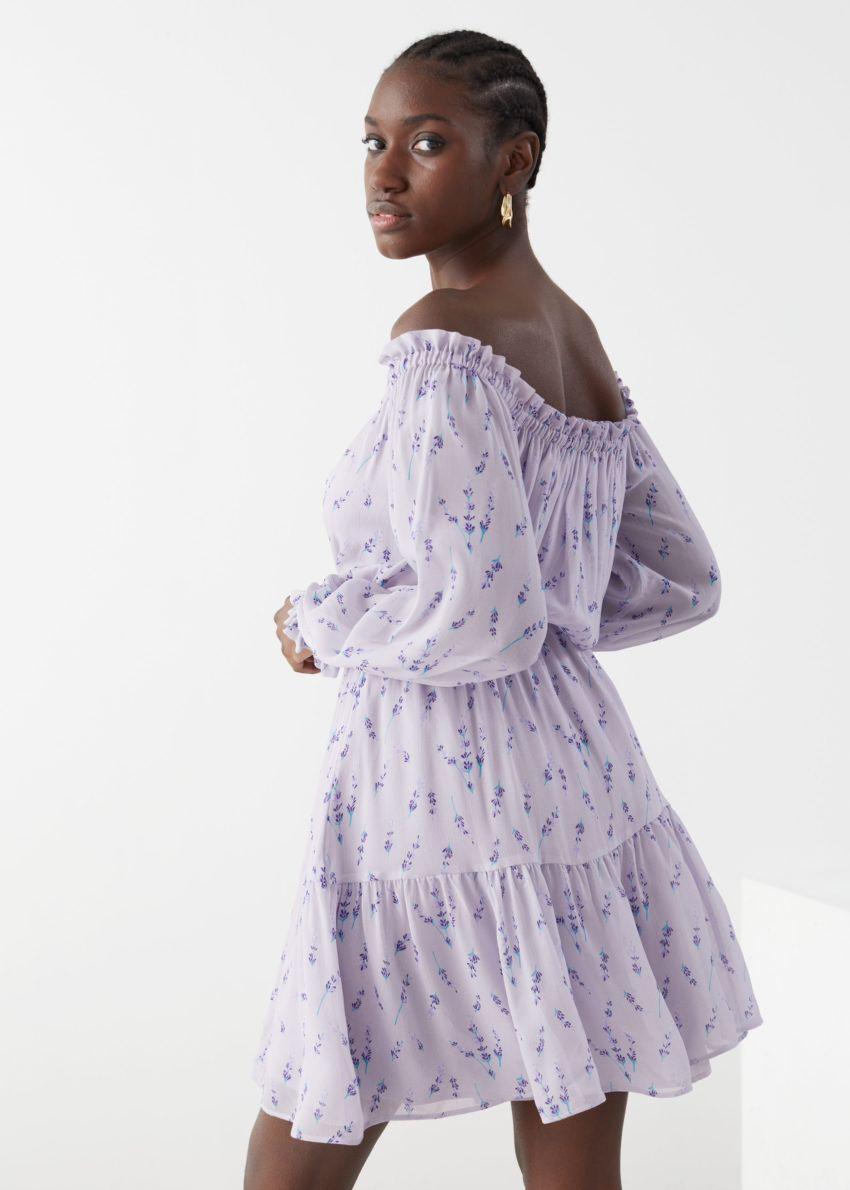 앤아더스토리즈 시폰 오프 숄더 미니 드레스의 라일락 플로럴컬러 ECOMLook입니다.