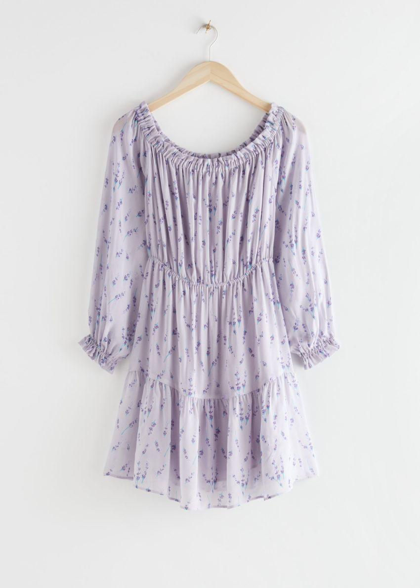 앤아더스토리즈 시폰 오프 숄더 미니 드레스의 라일락 플로럴컬러 Product입니다.