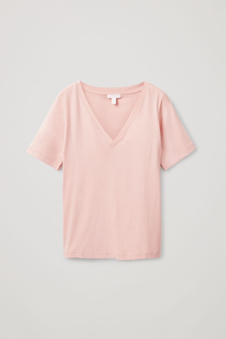 COS 브이넥 티셔츠의 핑크컬러 Product입니다.