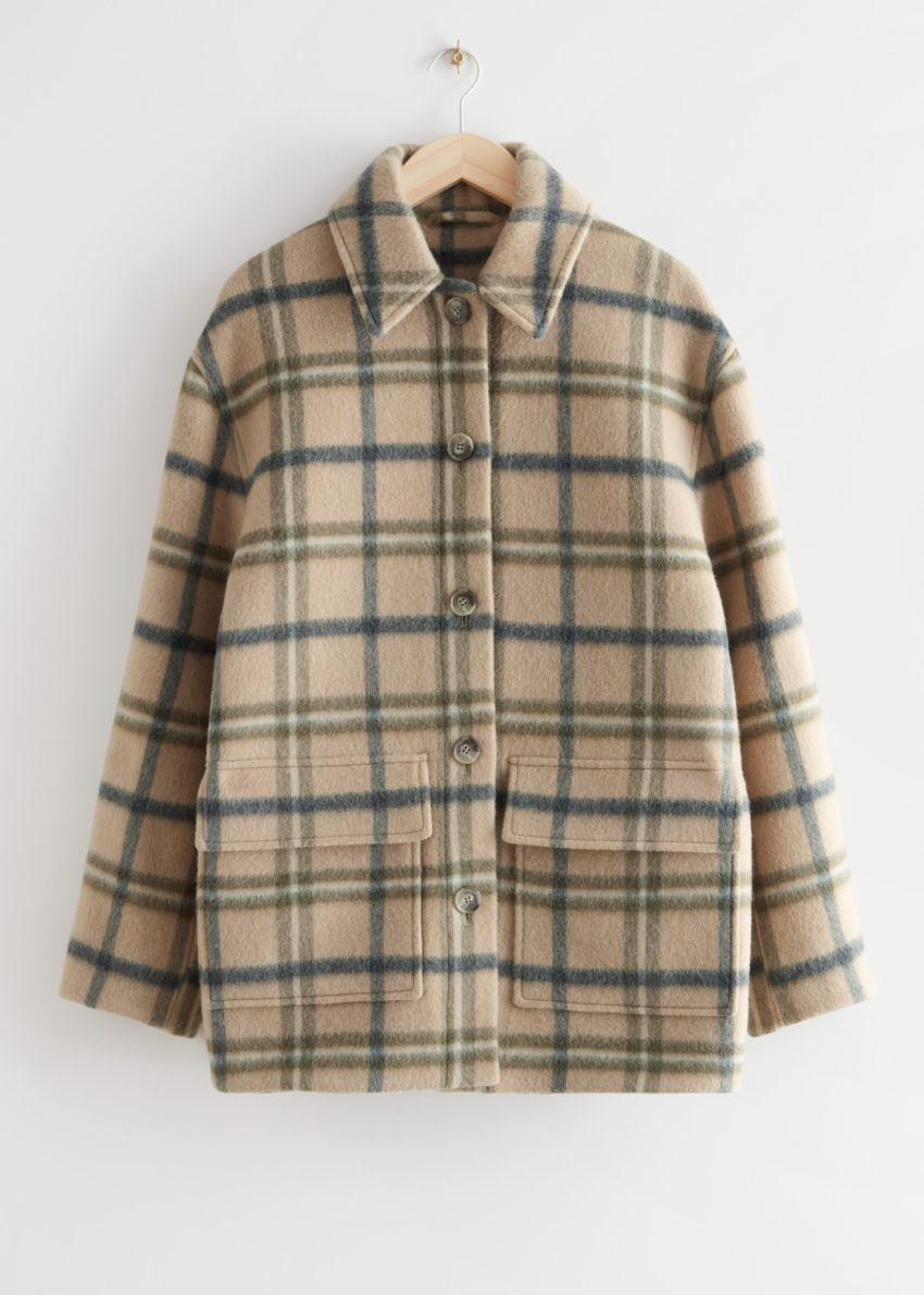 앤아더스토리즈 오버사이즈 울 블렌드 재킷의 베이지 체크컬러 Product입니다.