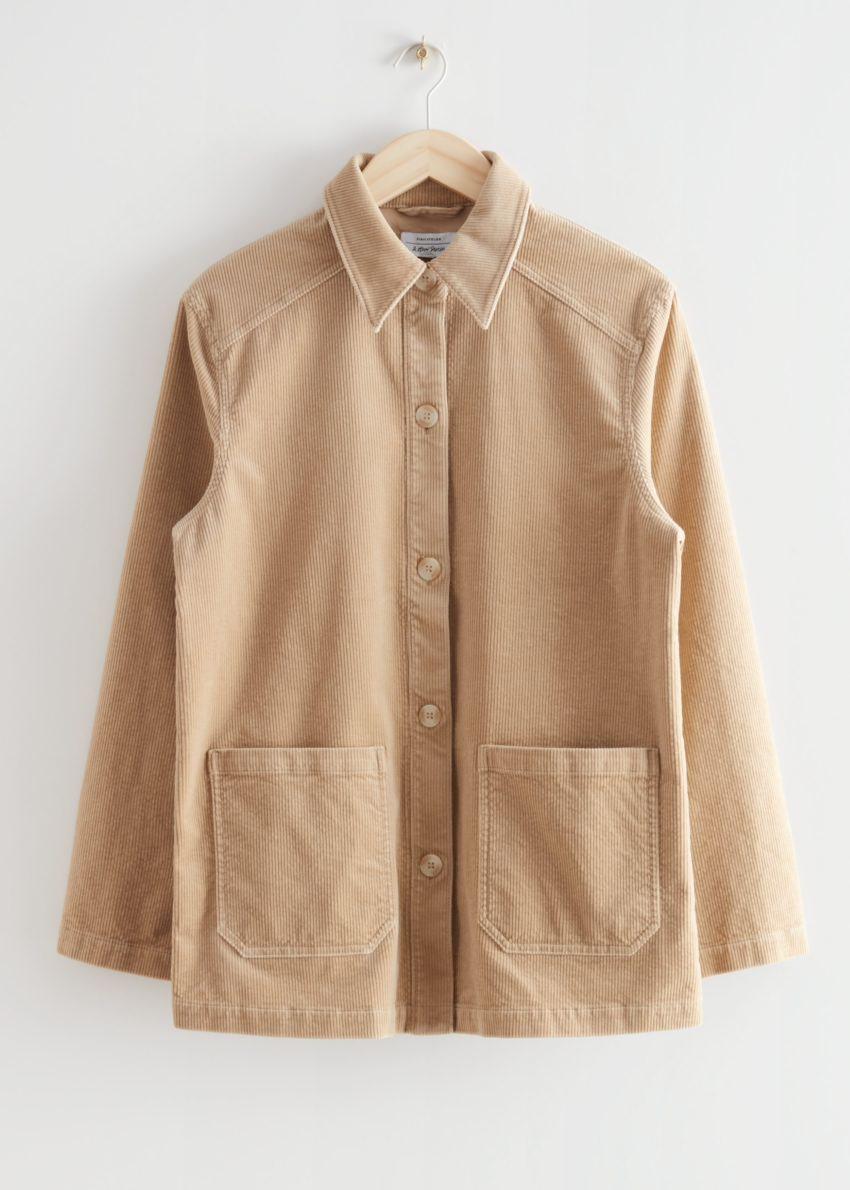 앤아더스토리즈 릴렉스드 패치 포켓 코듀로이 재킷의 베이지컬러 Product입니다.