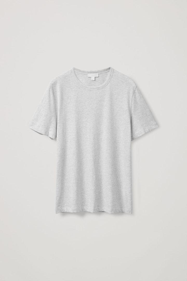 COS 레귤러 핏 브러쉬드 코튼 티셔츠의 그레이컬러 Product입니다.