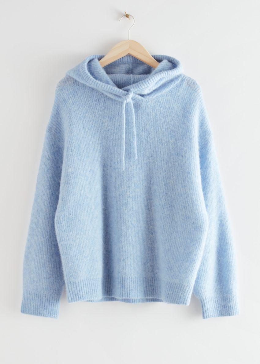 앤아더스토리즈 립 울 블렌드 후드 스웨트셔츠의 라이트 블루컬러 Product입니다.