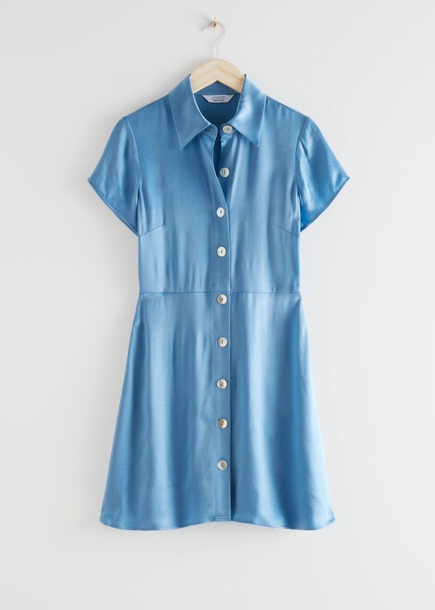 앤아더스토리즈 버튼 업 미니 셔츠 드레스의 블루컬러 Product입니다.