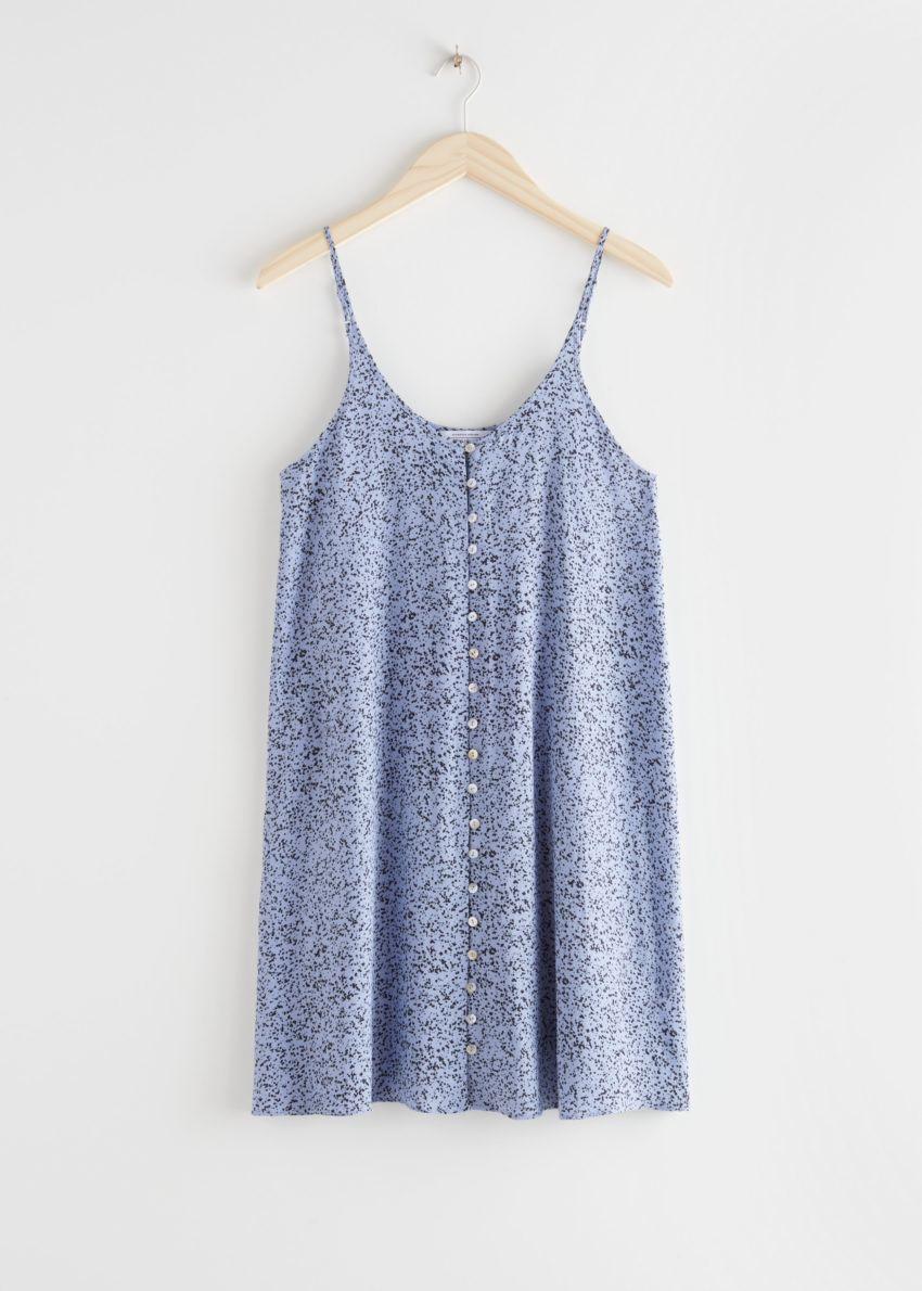 앤아더스토리즈 플로위 버튼 미니 드레스의 블루컬러 Product입니다.
