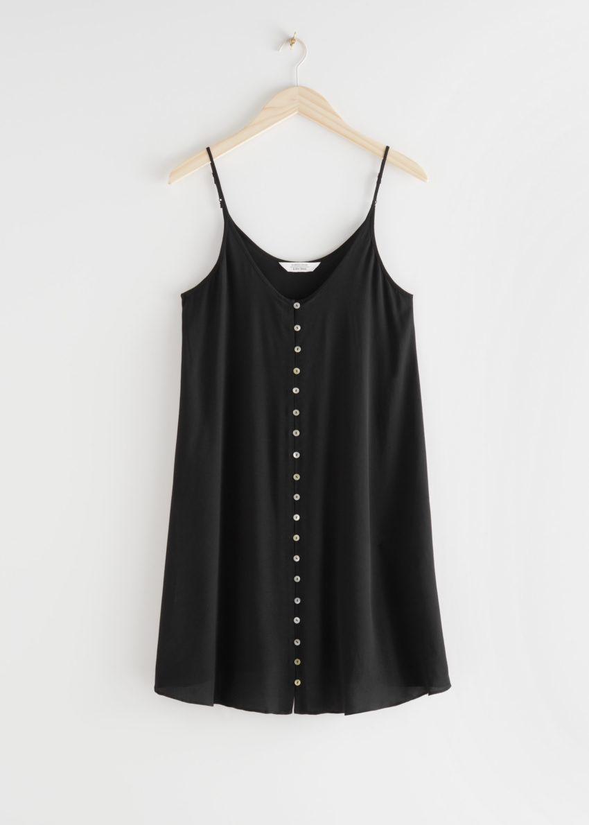 앤아더스토리즈 플로위 버튼 미니 드레스의 블랙컬러 Product입니다.
