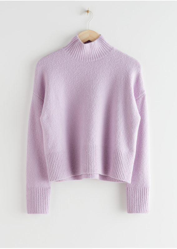 &OS image 7 of 라일락 in 크롭 모크 넥 스웨터