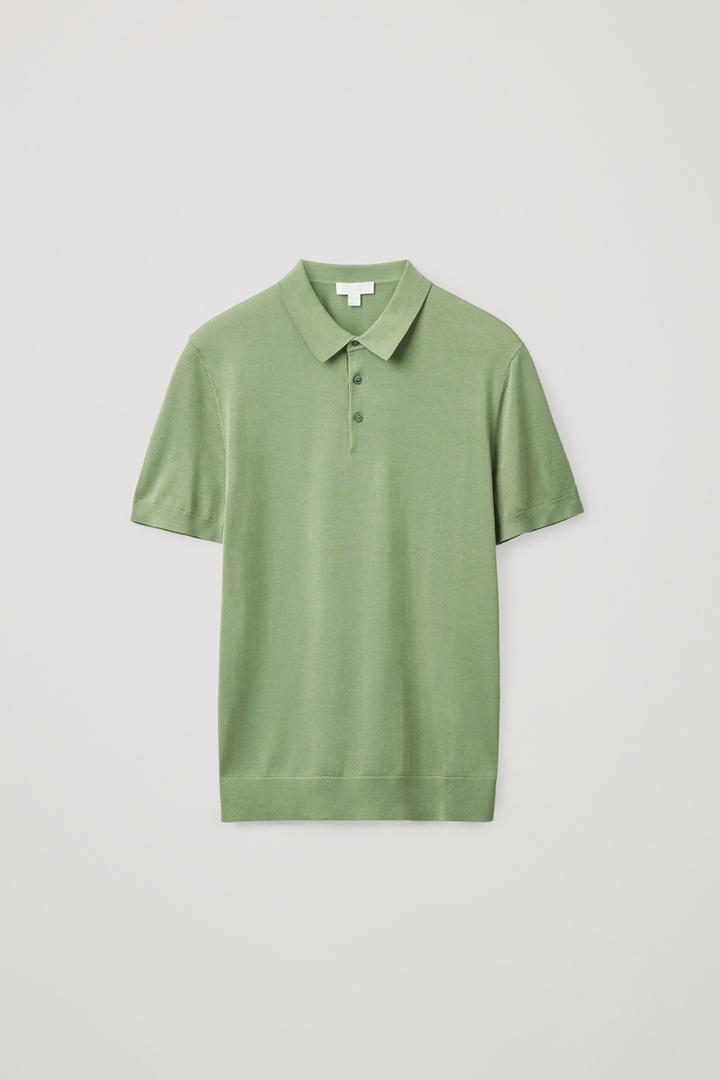 COS default image 8 of 그린 in 실크 코튼 니트 폴로 셔츠