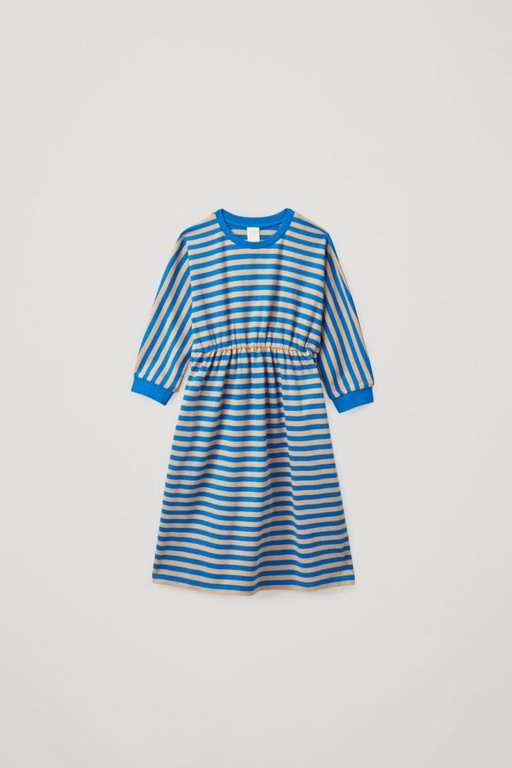 COS default image 10 of 블루 in 스트라이프 코튼 저지 드레스