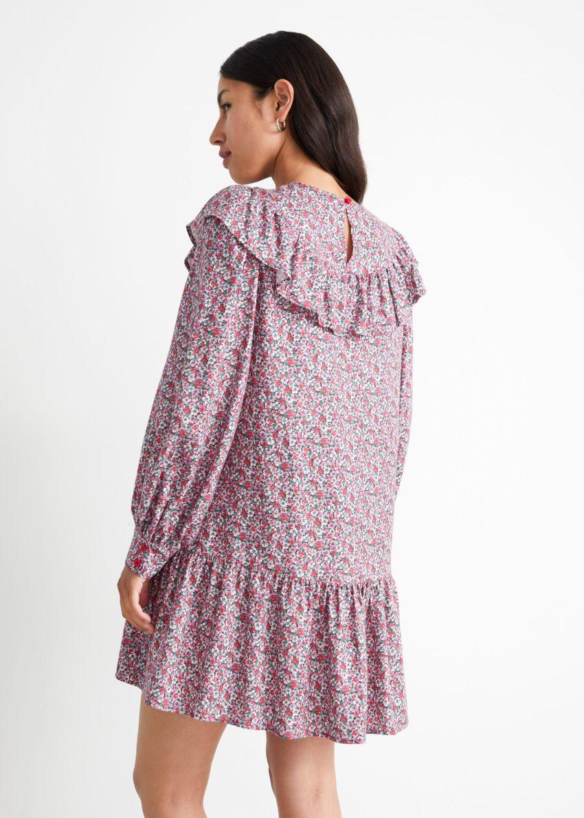 앤아더스토리즈 스캘럽 엠브로이더리 미니 드레스의 핑크 프린트컬러 ECOMLook입니다.