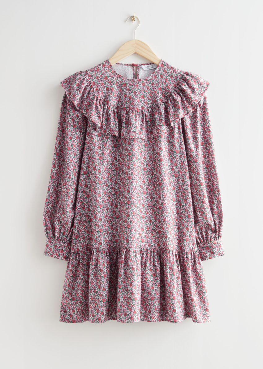 앤아더스토리즈 스캘럽 엠브로이더리 미니 드레스의 핑크 프린트컬러 Product입니다.