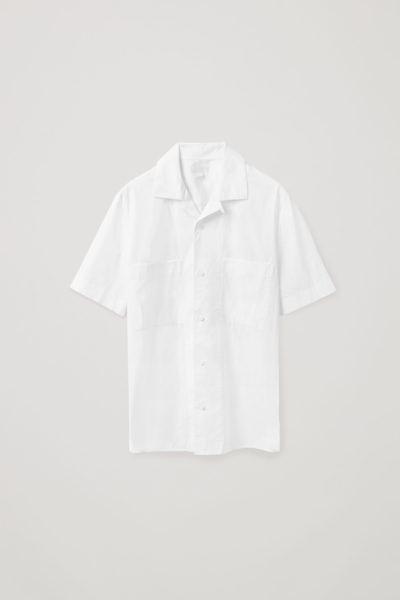 COS hover image 6 of 화이트 in 쇼트 슬리브 포플린 셔츠