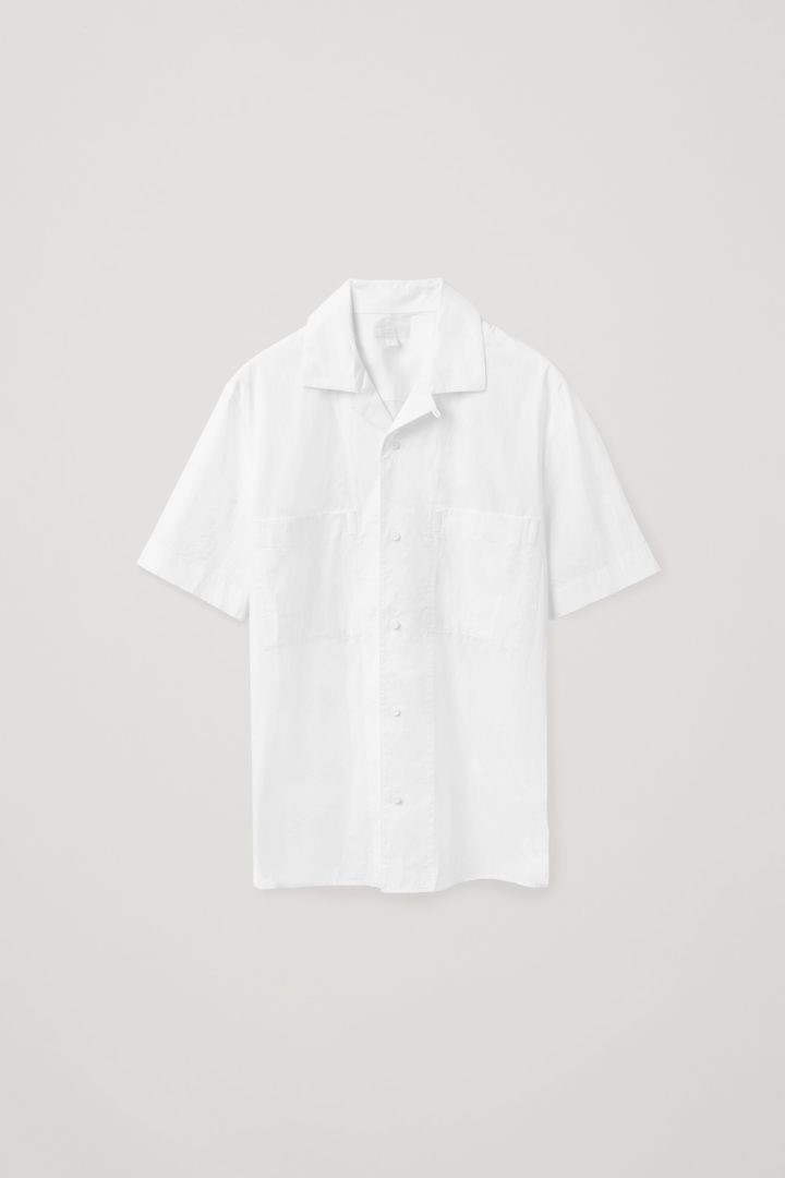 COS default image 2 of 화이트 in 쇼트 슬리브 캠프 칼라 셔츠