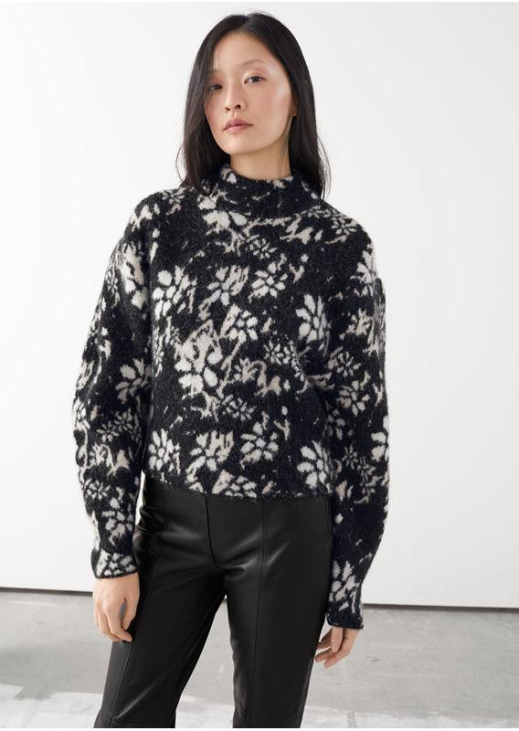 &OS image 27 of  in 알파카 블렌드 모크 넥 자카드 스웨터