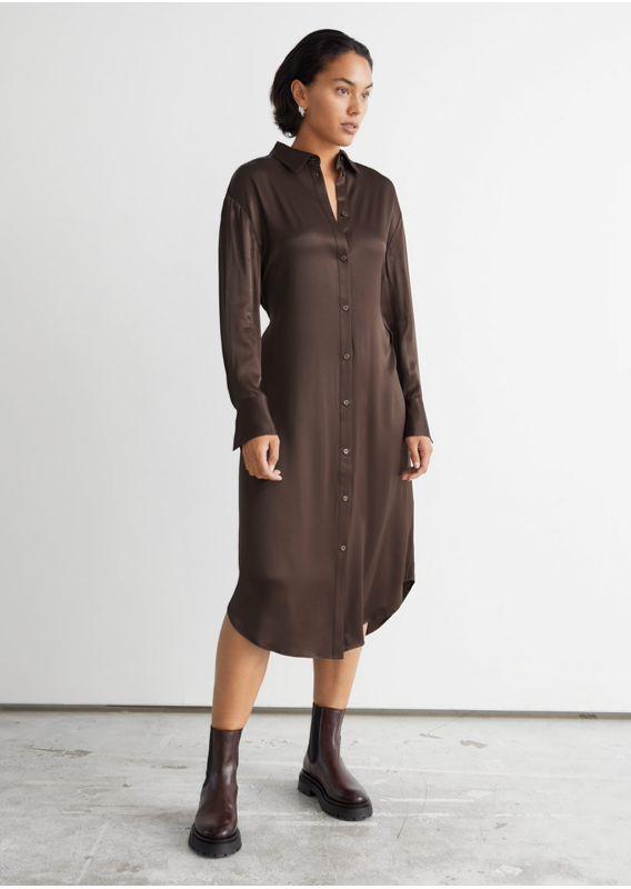 &OS image 2 of 브라운 in 벨티드 셔츠 미디 드레스