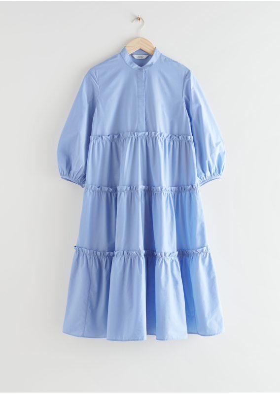 &OS image 19 of 블루 in 볼류미너스 티어드 퍼프 슬리브 미디 드레스