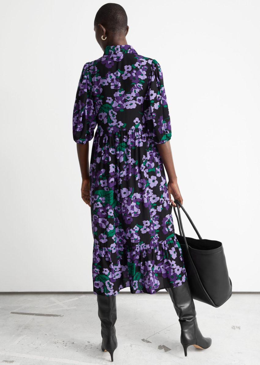 앤아더스토리즈 벌룬 슬리브 미디 드레스의 퍼플 플로럴컬러 ECOMLook입니다.