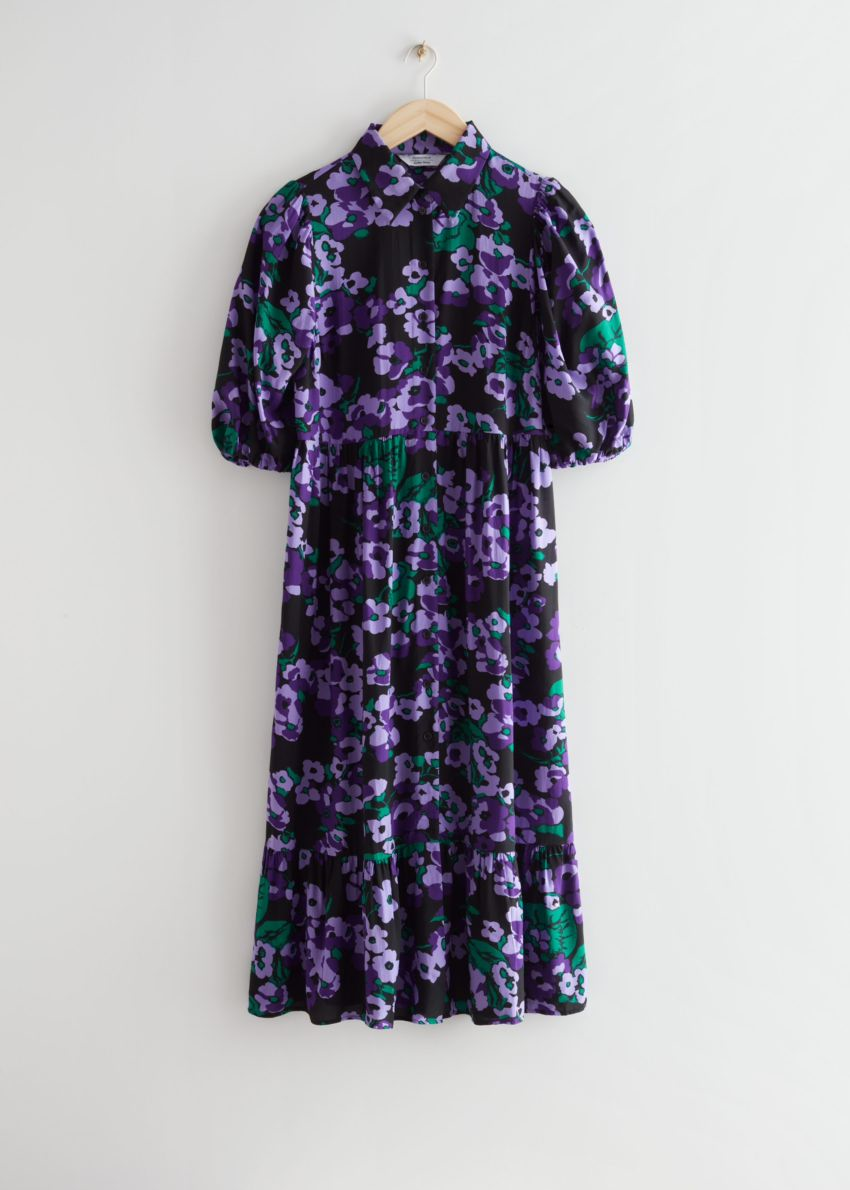 앤아더스토리즈 벌룬 슬리브 미디 드레스의 퍼플 플로럴컬러 Product입니다.