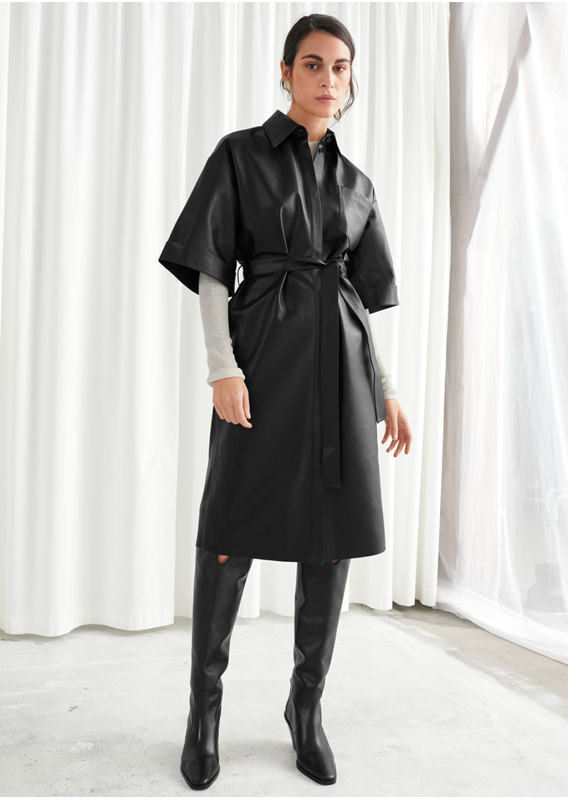 &OS image 25 of  in 오버사이즈 레더 셔츠 드레스