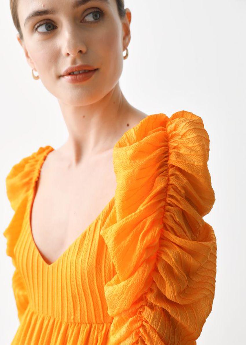 앤아더스토리즈 멀베리 실크 퍼프 슬리브 미디 드레스의 옐로우컬러 ECOMLook입니다.