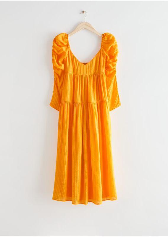 &OS image 1 of 옐로우 in 멀베리 실크 퍼프 슬리브 미디 드레스