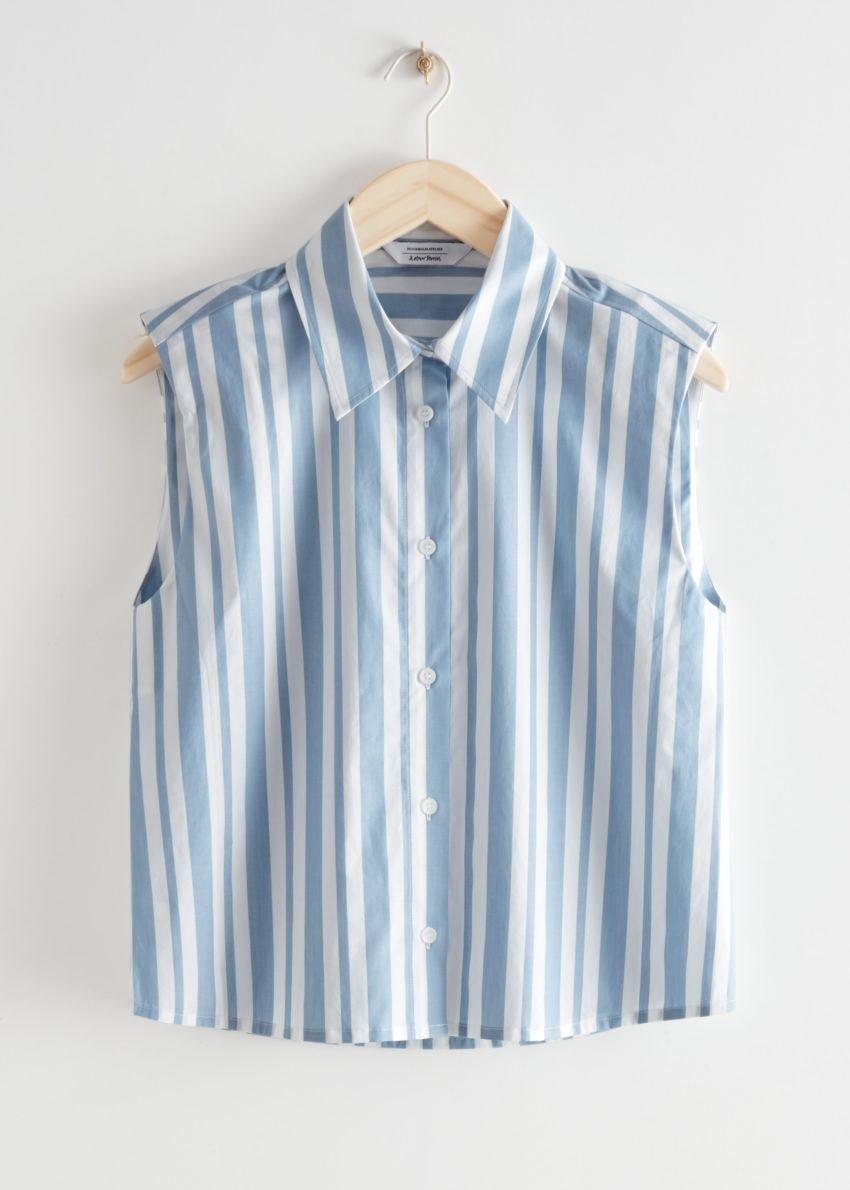 앤아더스토리즈 스트라이프 슬리브리스 패디드 숄더 셔츠의 블루 스트라이프컬러 Product입니다.