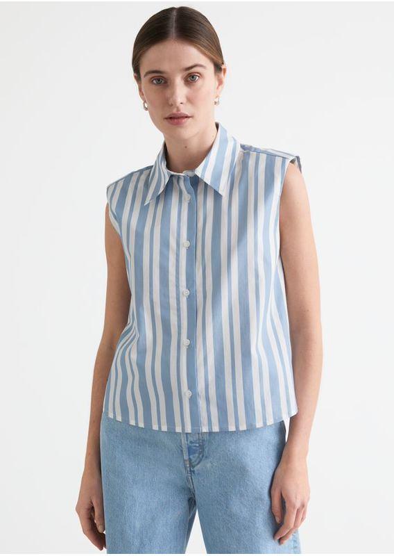 &OS image 16 of 블루 in 스트라이프 슬리브리스 패디드 숄더 셔츠