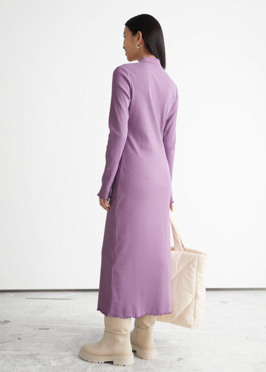 앤아더스토리즈 폴로 미디 립 드레스의 라일락컬러 ECOMLook입니다.