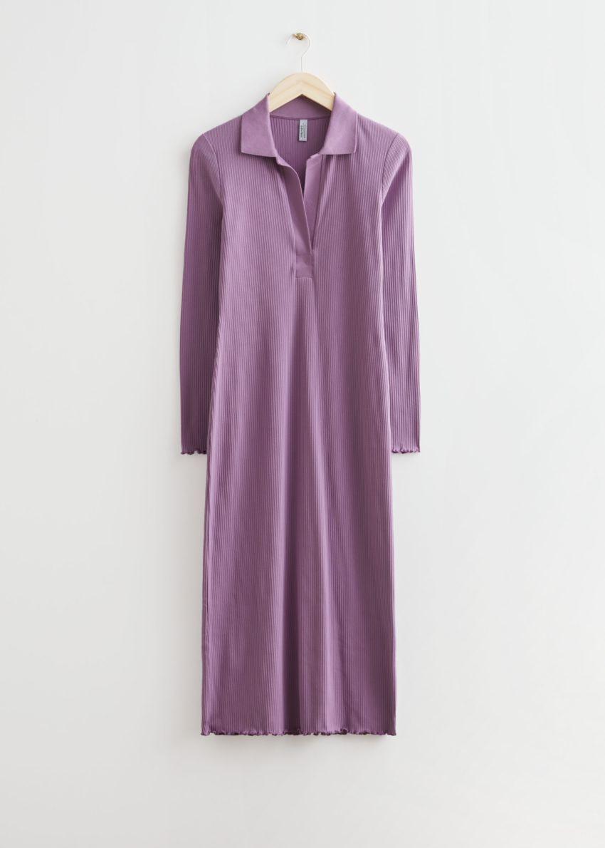 앤아더스토리즈 폴로 미디 립 드레스의 라일락컬러 Product입니다.