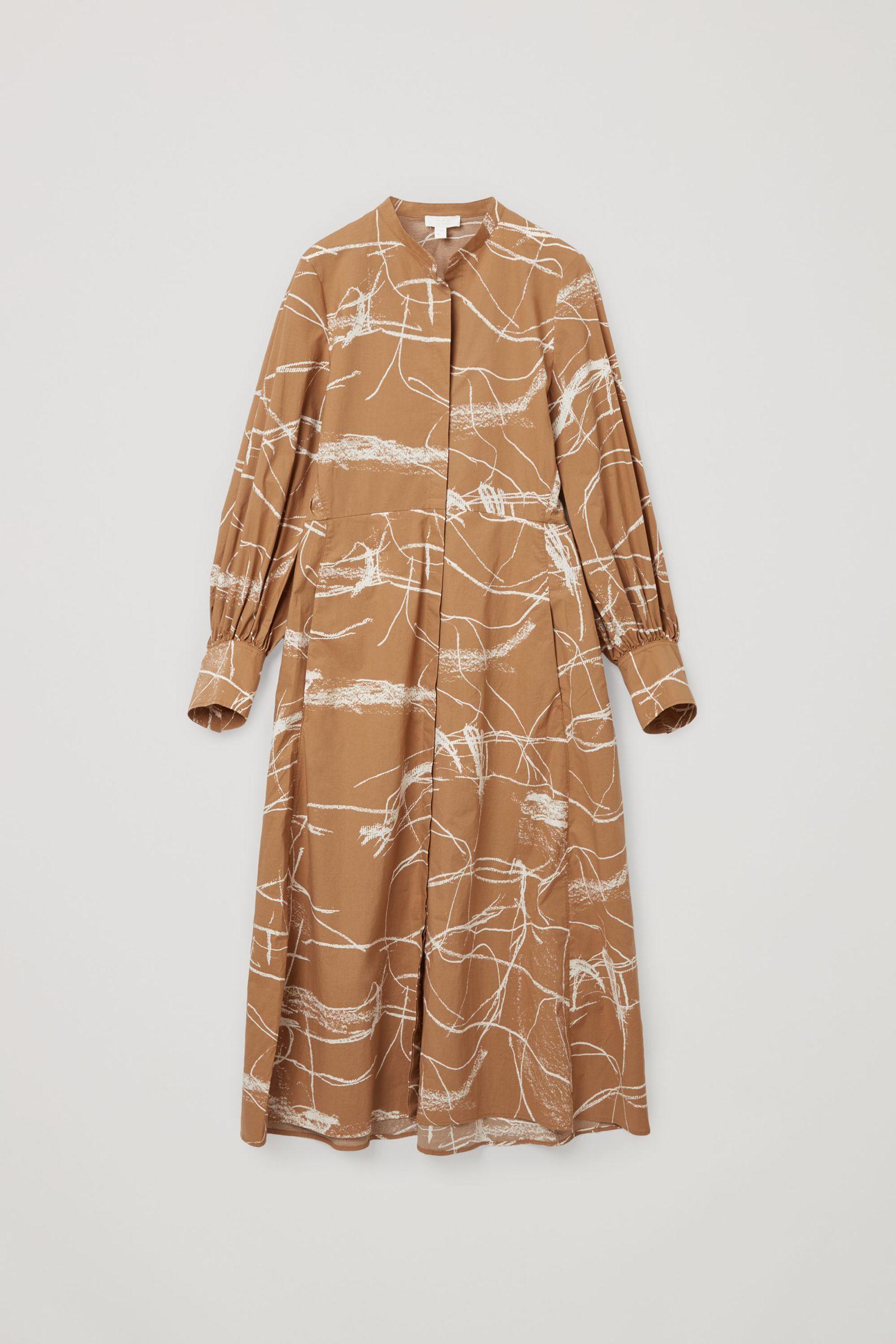 COS 코튼 칼라리스 셔츠 드레스의 브라운 / 화이트컬러 Product입니다.