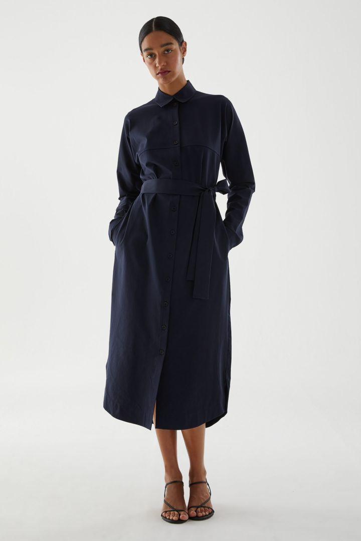 COS default image 3 of 블루 in 코튼 저지 셔츠 드레스