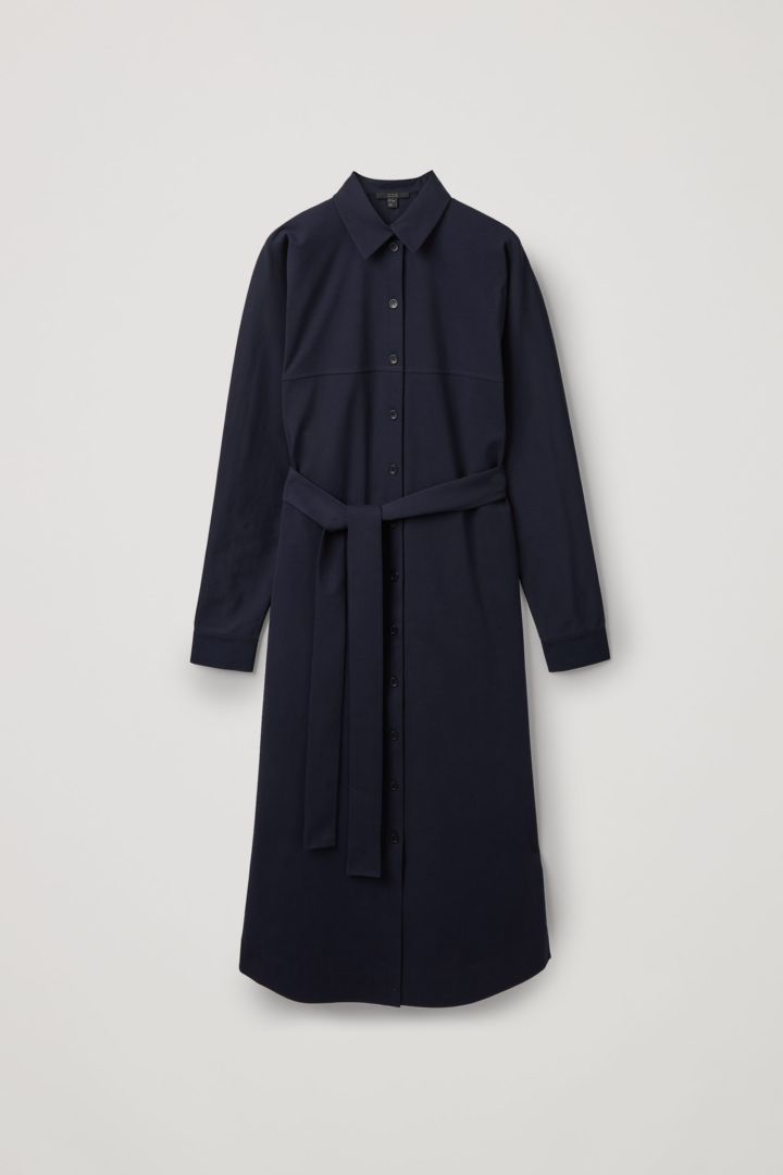 COS hover image 3 of 블루 in 코튼 저지 셔츠 드레스