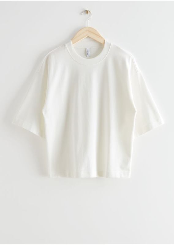&OS image 1 of 화이트 in 박시 크루넥 티셔츠