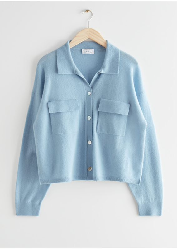 &OS image 18 of 블루 in 크롭 박시 울 블렌드 셔츠