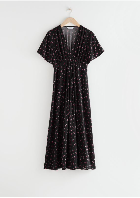 &OS image 1 of 블랙 플로럴 in 딥 브이넥 미디 드레스