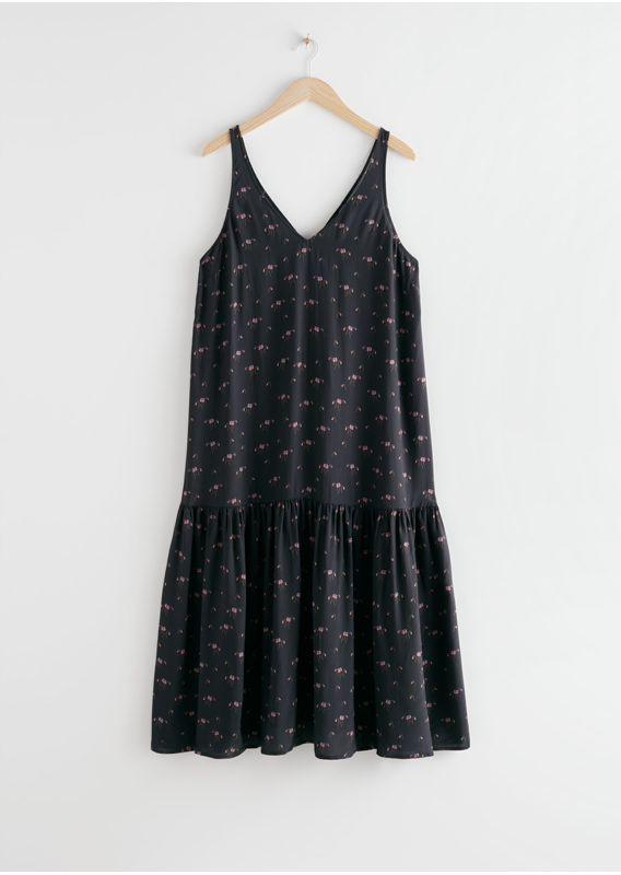 &OS image 3 of 블랙 프린트 in 볼류미너스 브이넥 미디 드레스