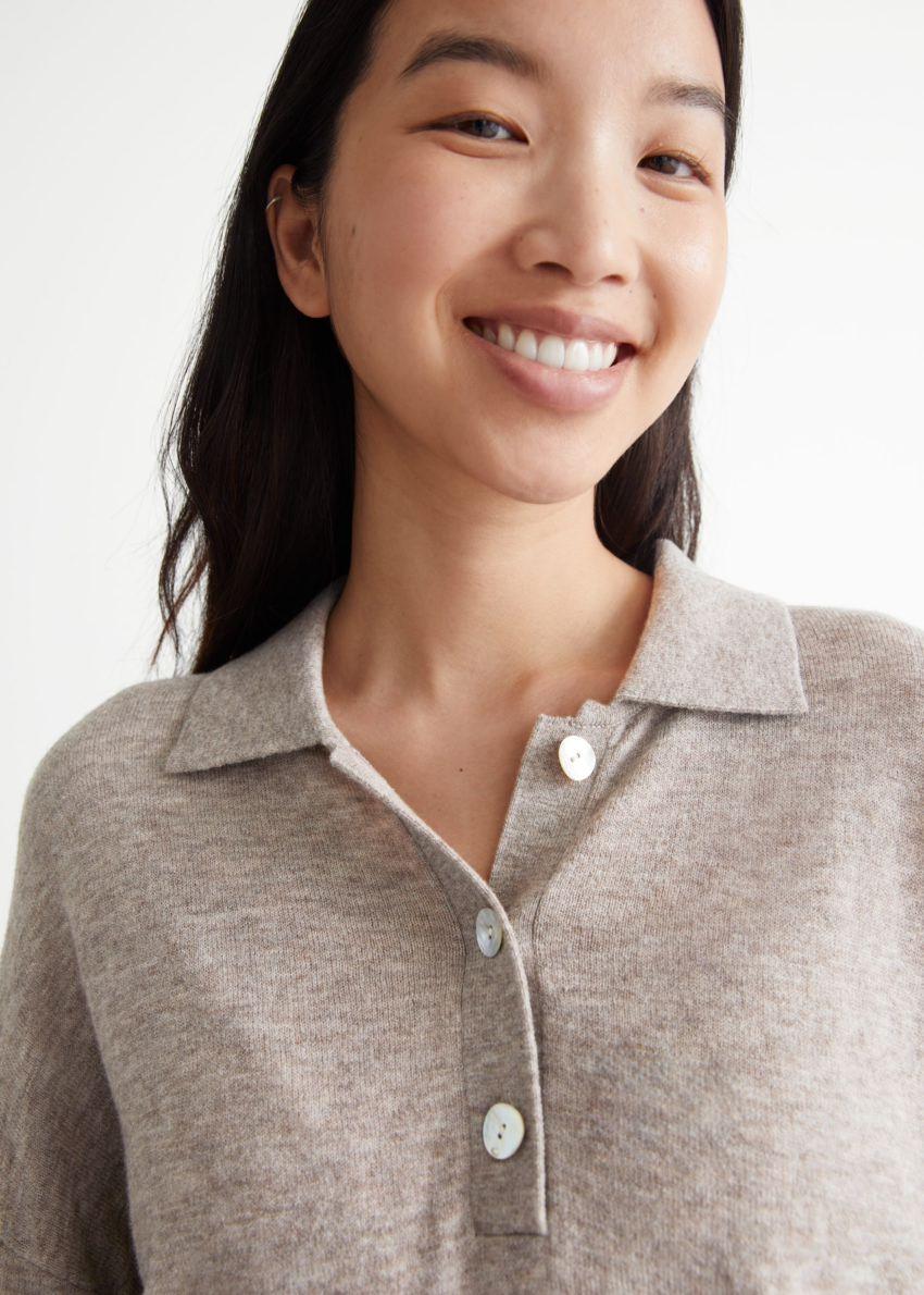 앤아더스토리즈 카라 니트 스웨터의 오트 멜란지컬러 ECOMLook입니다.