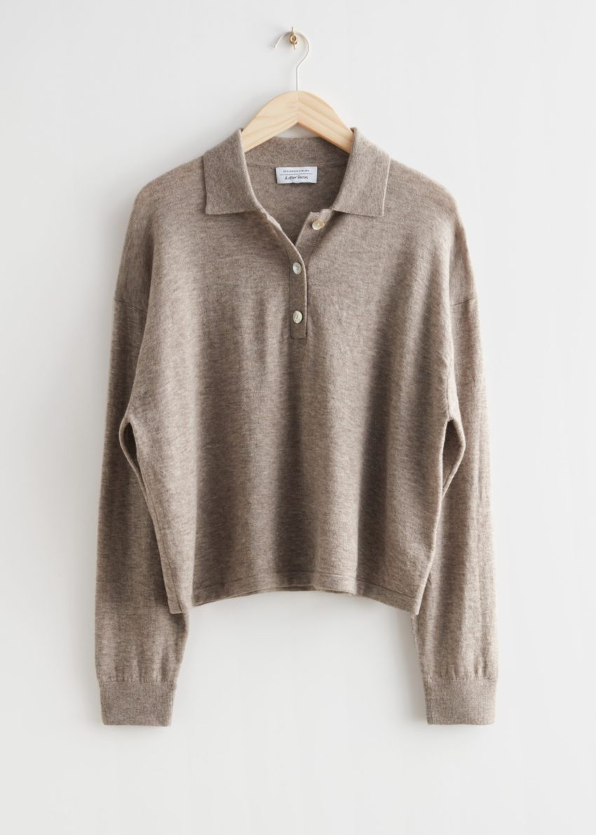 앤아더스토리즈 카라 니트 스웨터의 오트 멜란지컬러 Product입니다.