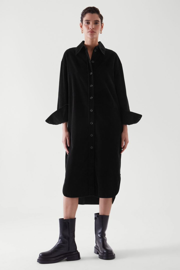 COS default image 2 of 블랙 in 코듀로이 셔츠 드레스