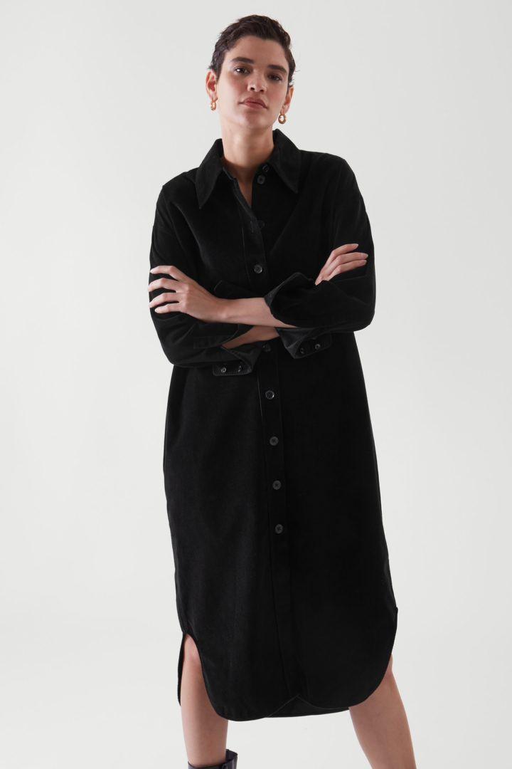 COS default image 10 of 블랙 in 코듀로이 셔츠 드레스
