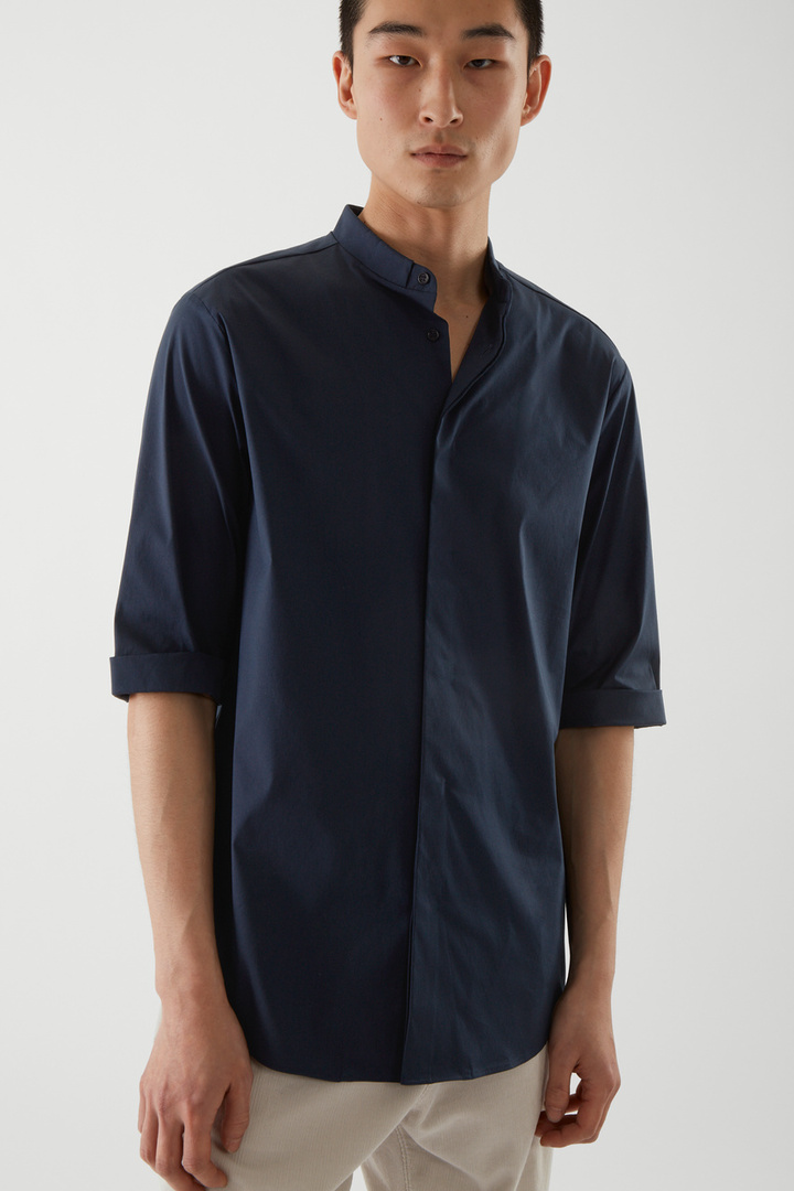 COS default image 3 of 블루 in 슬림 칼라리스 셔츠
