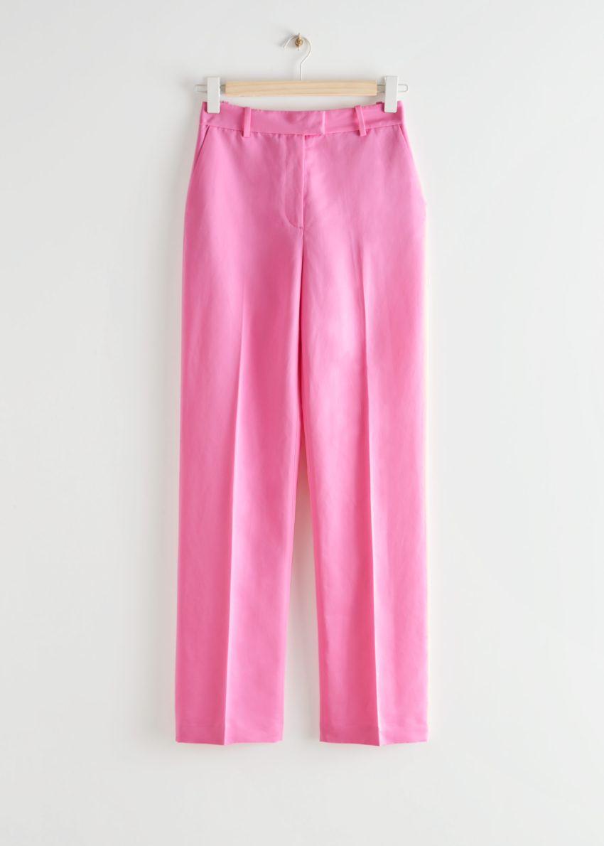 앤아더스토리즈 스트레이트 하이 웨이스트 프레스 크리즈 트라우저의 핑크컬러 Product입니다.