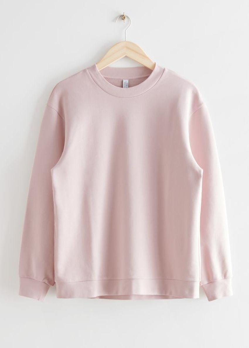 앤아더스토리즈 롱 릴렉스드 코튼 스웨터의 라이트 핑크컬러 Product입니다.