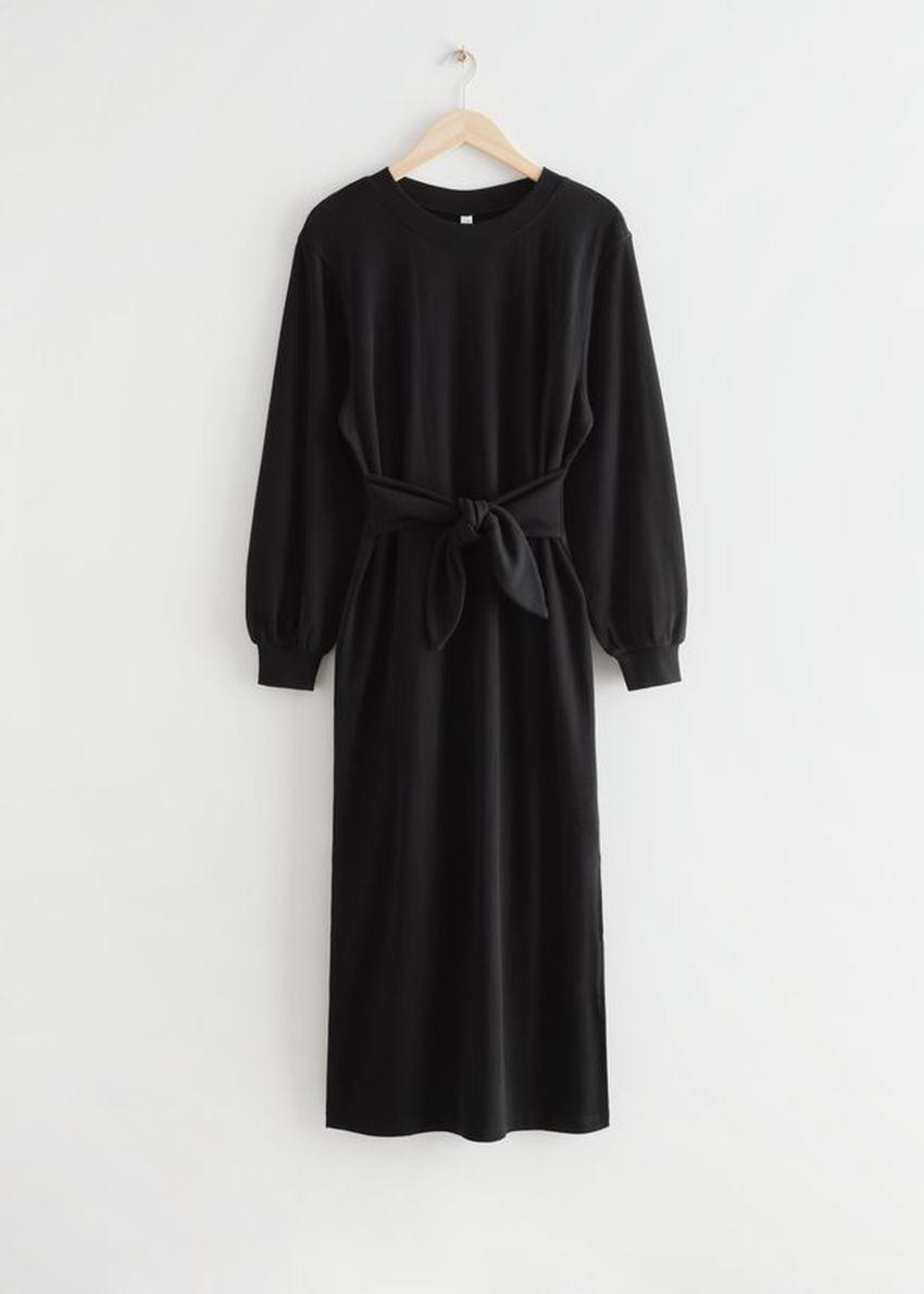 앤아더스토리즈 릴렉스드 벨티드 코튼 미디 드레스의 블랙컬러 Product입니다.