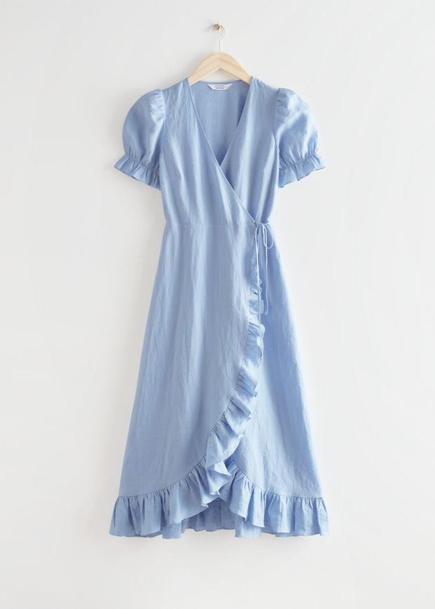앤아더스토리즈 리넨 미디 랩 드레스의 라이트 블루컬러 Product입니다.