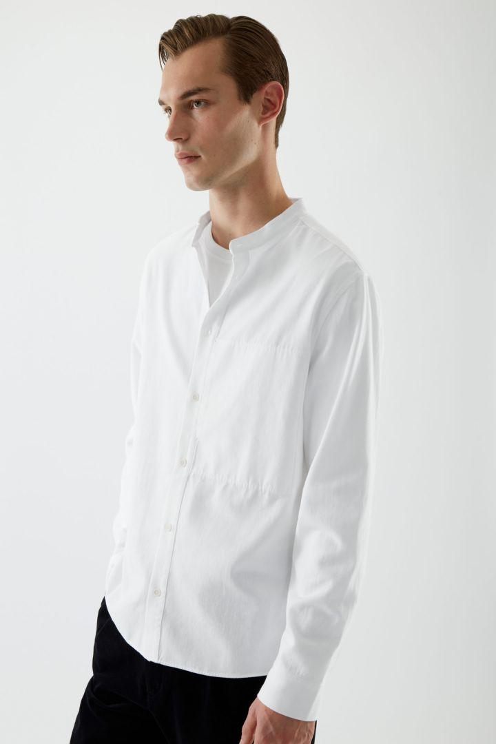 COS default image 6 of 화이트 in 레귤러 핏 칼라리스 셔츠