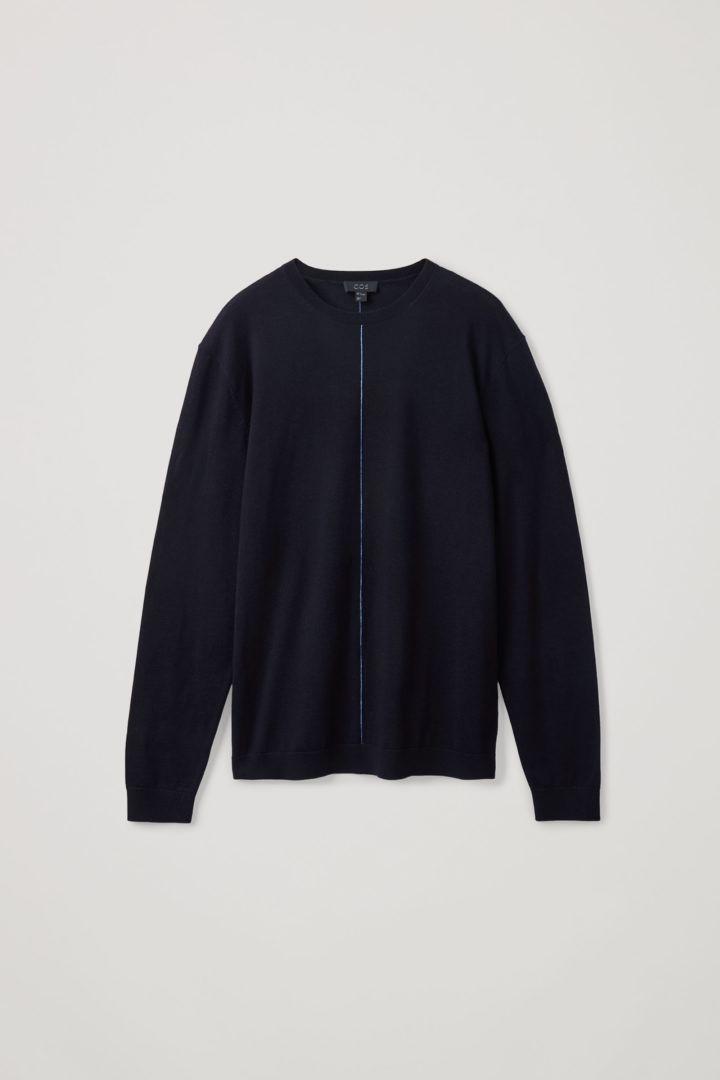 COS 메리노 울 센트럴 심 디테일 스웨터의 다크 네이비컬러 Product입니다.