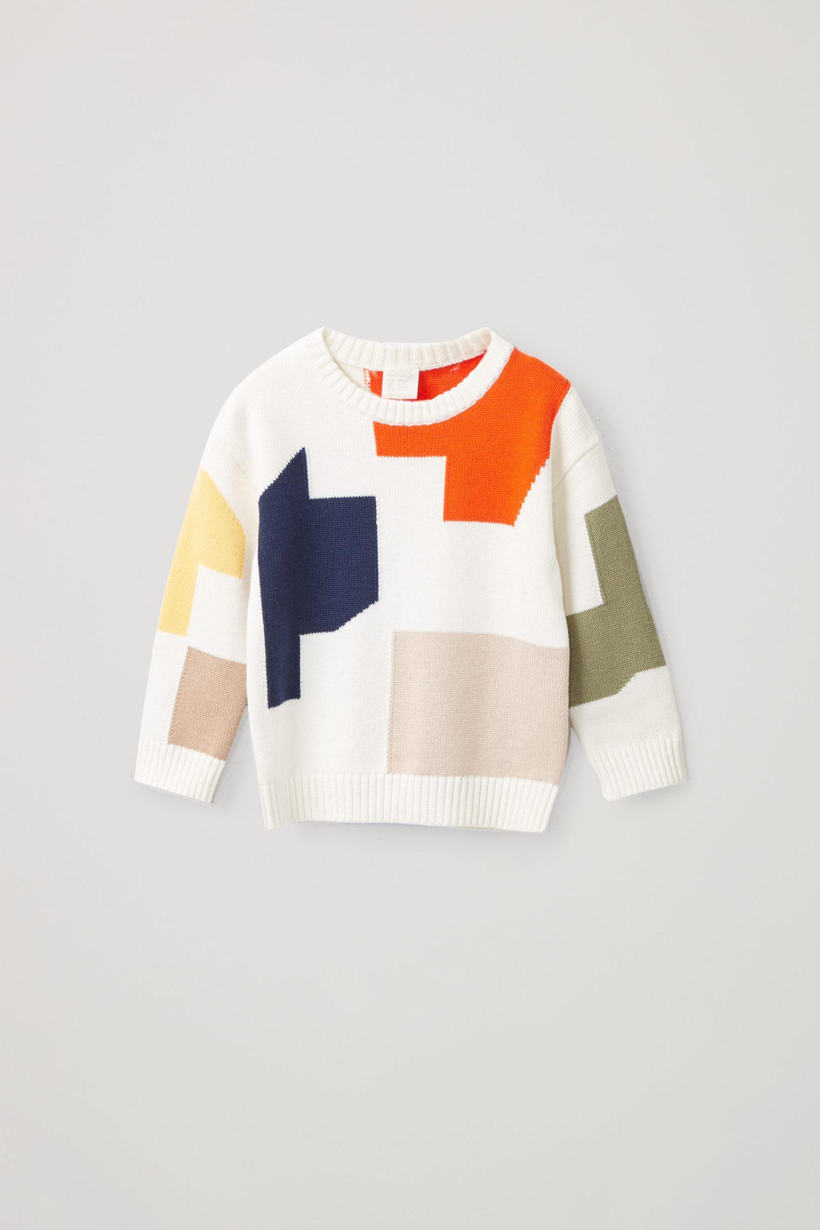 COS 컬러 블록 코튼 울 스웨터의 화이트 / 프린트컬러 Product입니다.