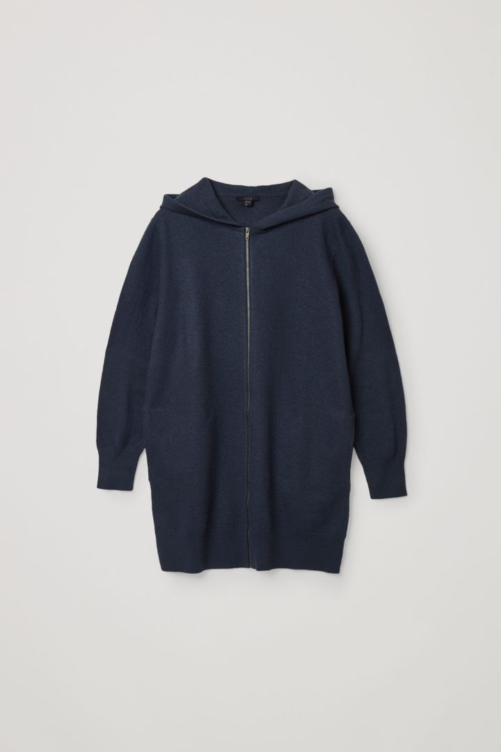 COS 메리노 울 후디드 집업 드레스의 블루컬러 Product입니다.