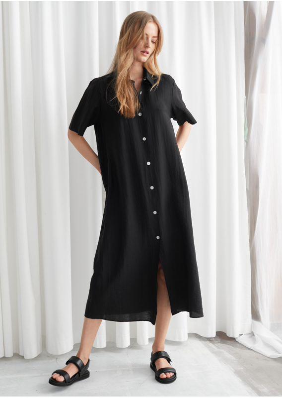 &OS image 3 of 블랙 in 버튼 맥시 셔츠 드레스